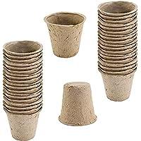 WARKHOME 48x Macetas Redondas de Fibra de coco Biodegradable Romberg Classic Pots (8cm)