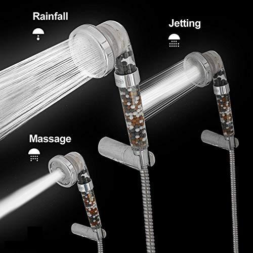 Cabezal de ducha ionizada de alta presión, con tres tipos presión (potenciador de presión y ahorro de agua) El filtro de iones negativos suaviza el agua y remueve el cloro