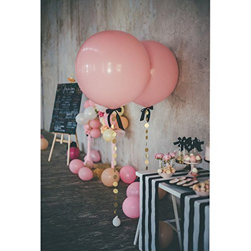 Treasure-house 36 inch pink Party Balloons with Glitter Paper Circle Garland and ribbon for Birthday Wedding Decorations