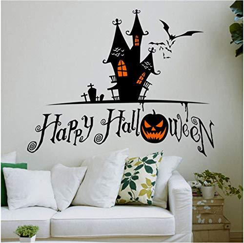 Shuyinju Kürbis Fledermaus Schloss Grab Wandaufkleber Für Shop Dekoration Diy Fenster Decals Halloween Festival Wandbild Vinyl Kunst
