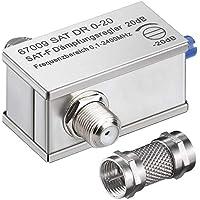 Anka de Digital Sat Atenuador Atenuador 20dB Conector F/F Hembra 0.1–2400MHz con aufdreh de Adaptador de 75Ohm para–Antena parabólica y Full HD 4K