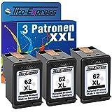 PlatinumSerie® 3x Druckerpatrone XXL remanufactured für HP 62 XL Black - 66% mehr Inhalt als HP 62 XL Original! HP Envy 5600 Series 7600 Series