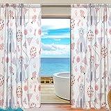 yibaihe Fenster Sheer Vorhänge Panels Voile Tüll Schöne Einrichtung Rosa Bären und Luftballons 139,7cm W x 198,1cm L Set 2Stück für Wohnzimmer Schlafzimmer Küche Fenster, Textil, multi, 55