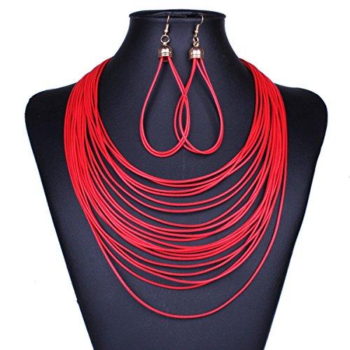 ZPXLGW Mode Tempérament Wild Multi-couches Collier Tassel Boucles D'oreilles Suit red