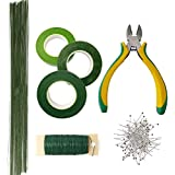 Floral Arrangement Kit Floral Tools Wire Cutter, Ball Head Pins, 26 Gauge Stem Wire, 22 Gauge Wire and Green Floral Tapes Great for Wedding Bouquet