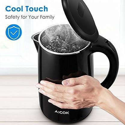 Aicok-Wasserkocher-Edelstahl-Cool-Touch-Doppelwand-Design-Wasserkocher-Voller-Edelstahl-Innen-Wasserkessel-17L-Elektrischer-Wasserkessel-Strix-Controller-Automatisch-Abschaltung-Schwarz