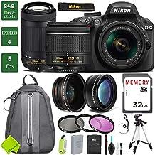 Nikon D3400 DSLR Camera With 18-55mm Lens Bundle 3 (18-55mm VR & Nikon 70-300mm, Standard Warranty)