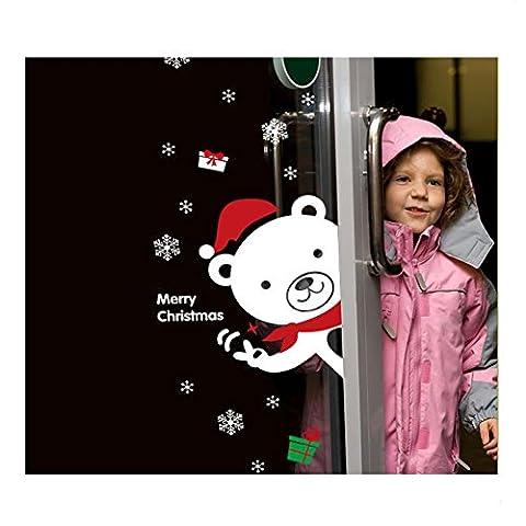 YYH Grün PVC wasserdichte Wand Aufkleber Wand Aufkleber Neujahr Weihnachten Geschäfte aufstellen von Dekorationen Fenster Glas Türaufkleber Bunny Bär snow