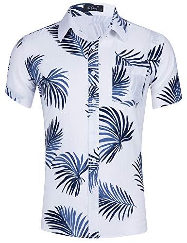 md Blätter Kurzarm Shirt Funky Shirt 3D Gedruckt Hawaiian Themed Party Sommer Baumwolle Kleidung Weiß XXL ()