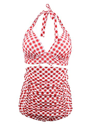Icegrey Damen Bademode Push Up Monokini Kariert Gedruckt Badeanzug mit Hoher Taille Und Neckholder Retro Bikini Set Rot