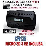 Despertador Reloj Espía + Micro SD 8GB Espía Cam Full HD 1080p cámara WiFi Motion Detection cw136