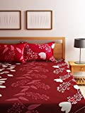 #7: Homecrust 150TC Polyster and cotton mix blend Double Bedsheet with 2 Pillow covers, Red