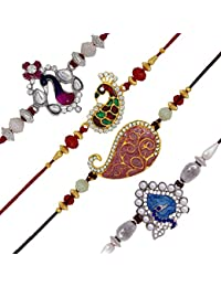 Mahi Crystal Gold and Rhodium Plated Rakhi for Men and Women (Red, Pink, Blue Peacock, CO1104520M) - Combo of 4