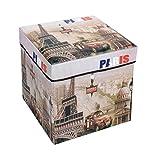 Amazinggirl Sitzhocker mit Stauraum 30x30x30 cm Faltbarer und Moderne Paris Motiv Falthocker als Aufbewahrungsbox Sitzwürfel und Deckel
