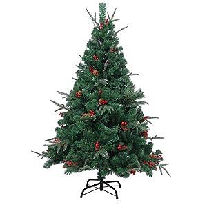 Gifts 4 All Occasions Limited SHATCHI-721 - Árbol de Navidad artificial (2,13 m, decorado naturalmente con piñas y cerezas con puntas congeladas), color verde