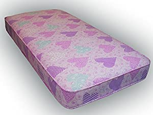 Starlight Beds 3ft single budget mattress pink love heart material 90cm x 190cm, 3ft x 6ft3 Fast delivery to all UK Mainland Postcodes