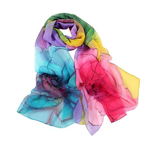 160*50cm Mode Frau Lange Weich Wickeln Schal Damen Schal Chiffon Schmetterlings-Druck Schals Drucken (Purple) (Drucken Lange Schal)