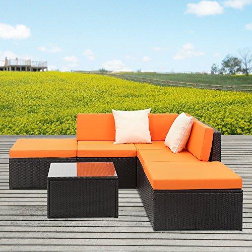 Ikayaa 6pcs divani in rattan da giardino di vimini sezionale d 39 angolo del sof set tavolo - Divano in vimini ...