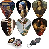 Médiators pour Guitare, Cool Renaissance Art Medium 12 Pack Celluloid, Leather Keychain Pick Holder Included, Premium Gift Set For Every Artist and Guitar Player. A Most Original Christmas Gift.