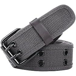 """Leahtario Eshow ceinture tissu unisexe ceintures etoffe hommes ceinture femmes de longueur 112 cm 44.09""""pouces ceinture en boucle de fixation de aiguille"""