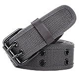 Leahtario Damen Herren Baumwolle Gürtel Jeansgürtel Männergürtel Frauengürtel Gürtelschnalle Belts 112cm