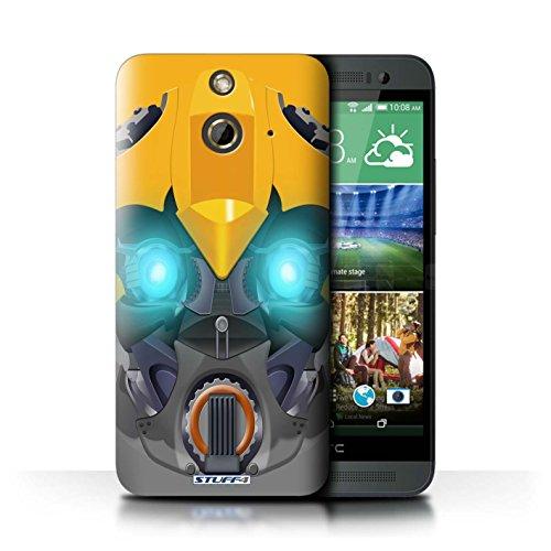 Kobalt® Imprimé Etui / Coque pour HTC One/1 E8 / Mega-Bot Bleu conception / Série Robots Bumble-Bot Jaune