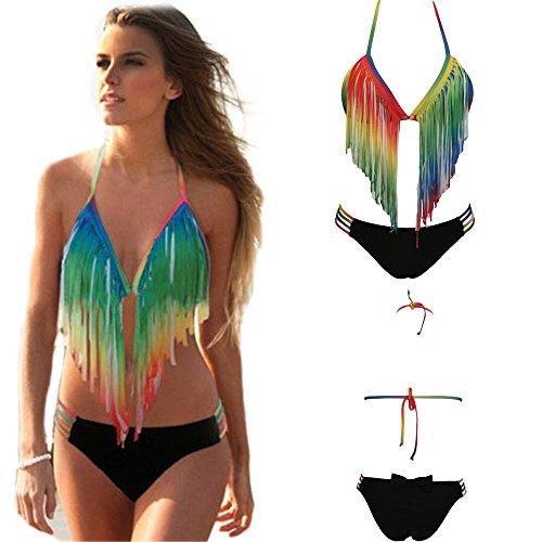Preisvergleich Produktbild Loveours Damen Strand Strappy Regenbogen Zweiteilige Bademode Bikini Set (L)