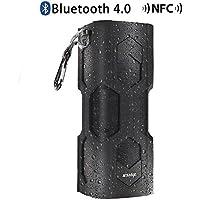 IPX4 4W * 2 Bluetooth 4.0 altoparlanti stereo, superficie molle del silicone portatile senza fili esterna impermeabile / Indoor Sport Speaker, NFC, microfono incorporato, Auto Voice Prompt - Nero