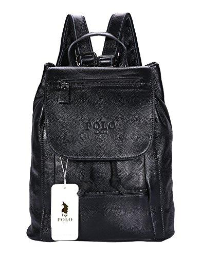 VIDENG POLO Leder Rucksack Handtasche Lässige Tagesrucksäcke Mode Schule Reise Wandern Rucksäcke für Frauen, 5 Größen, 3 Farben (schwarz-B3) (Schwarze Trainer-laptop-tasche)