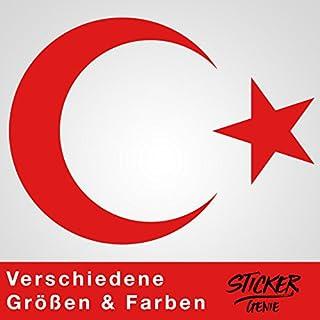AY YILDIZ - Halbmond Türkiye Wandtattoo Wandaufkleber Sticker Aufkleber (28 (B) x 20 (H) cm, Rot)