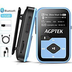 AGPTEK MP3 Bluetooth 16Go avec Clip, Lecteur MP3 Sport Ecran Couleur LCD 0.96'', Petit Baladeur Musique Radio avec Bouton d'Enregistrement/Volume Indépendant, Bande Réfléchissante Inclus - Bleu