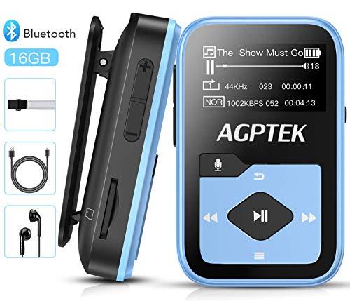 Bluetooth 4.2 MP3 Player 16GB Mini Sport Musik Player mit Clip(+ Sport Armband), 30 Stunden Wiedergabe Musikplayer mit FM Radio, Unterstützt bis 128 GB SD Karte, Blau von AGPTEK