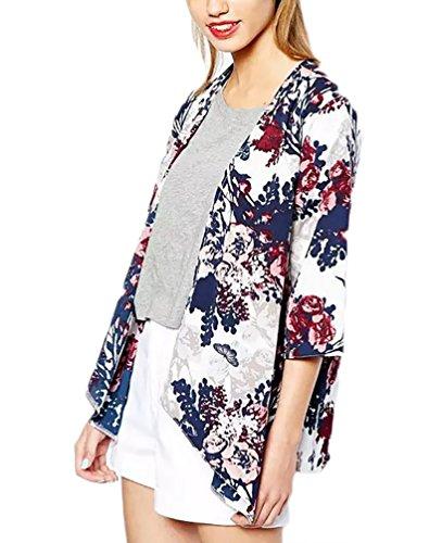 Damen Cardigan Wasserfall Vintage Ethno Floral Blumen Muster Elegant 3/4 Arm Fledermausärmel Kurz Sommer Strand Kimono Strandtunika Bikini Cover Up