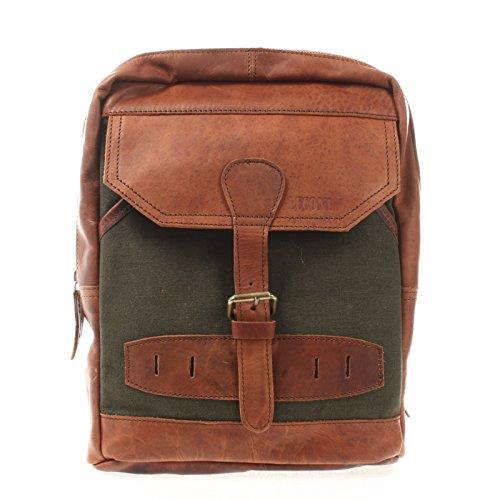 LECONI Crossbag Rucksack aus Canvas & Leder Bodybag für Damen + Herren Umhängetasche im Vintage-Look Retro Crossover-Tasche Unisex 26x34x10cm grün LE1012-C -
