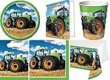 49-teiliges Party Set Traktor Bauernhof Kindergeburtstag Geburtstag Party Fete Feier 8 Teller, 8 Becher, 16 Servietten, 8 Einladungskarten, 8 Partytüten, Tischdecke
