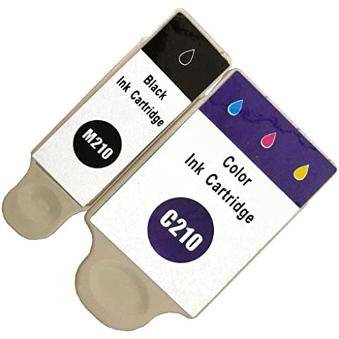 2 kompatible Druckerpatronen mit Füllstandsanzeige color für Samsung CJX-1000 CJX-1050W CJX-2000FW Patronen kompatibel zu INK-M210 INK-C210