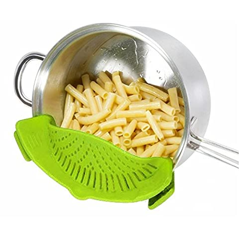 Hihoddy Snap Strainer Clip-on Silicone Strainer, Green - Dishwasher Safe Colander and Drainer,Universal Size Fit Most Pans,Pots, Bowls -Suitable for Draining Pasta Vegetables Potatoes Noodles