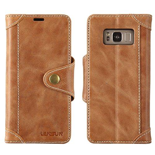 Lensun Hülle für Samsung Galaxy S8 Plus, Handyhülle Handytasche für Samsung Galaxy S8 Plus (6.2 Zoll) Leder Tasche Huelle Flip Case Ledertasche Schutzhülle - Braun (GT-S8P-BN)