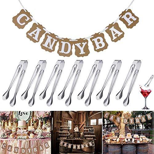 REYOK Candy Bar Zubehör Set,Candy Bar Girlande Banner mit 6 Stücke Edelstahl Zuckerzange Zangen Candybar, Eiswürfelzange 11cm für Candybar Deko Süßigkeiten Candy Salat Servierzange in Hochzeit Party