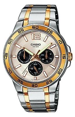 CASIO Collection MTP-1300SG-7AVEF - Reloj de caballero de cuarzo, correa de acero inoxidable color varios colores (con luz)