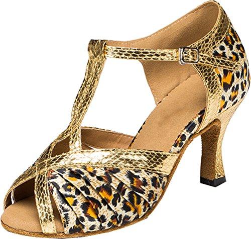 Damen T-Bar Peep-Toe Latein Modern Tango Cha-cha Hochzeit Braut Professionelle Tanzschuhe, Leopard - Größe: 41 EU Peep Toe T-bar