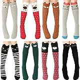 Ateid 8 Paar Mädchen Kniestrümpfe Knielang Socken aus Baumwolle
