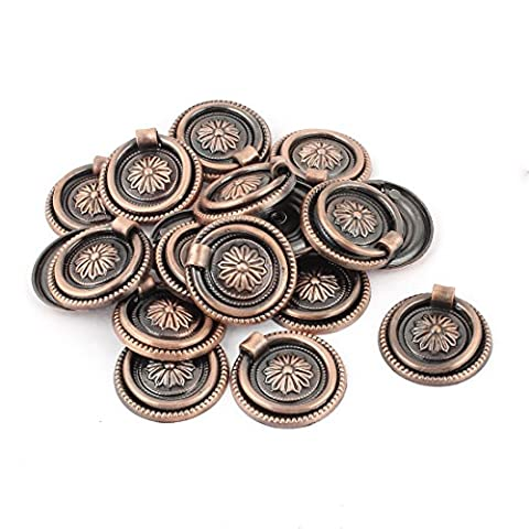 sourcingmap® Drawer Cupboard Cabinet Round Ring Pull Handles Bronze Tone 20pcs