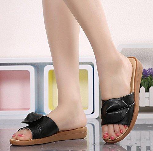 sandales de plage et pantoufles été de pente de la mode féminine avec des chaussures à fond épais glisser le mot Black