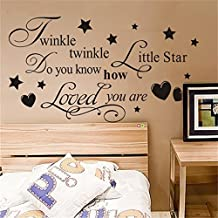 Vinyl Wall Sticker Decal Quote Home Decor Twinkle Twinkle Litter Star do You How Loved You are for Bedroom