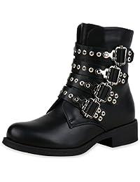 SCARPE VITA Damen Stiefeletten Biker Boots Leicht Gefüttert mit Blockabsatz Nieten  Schnallen 413aff7f63