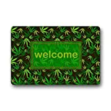 DENSY Door Mats Machine Clean Top Fabric & Gomma Antiscivolo per Porte/Esterni zerbino zerbini Welcome Marijuana erbaccia Foglia Verde e Giallo Design 59,9x 39,9cm