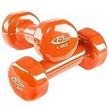 TecTake Vinyl Hantelset Fitness Hanteln mit Rutschfester Oberfläche - Diverse Modelle - (1,5 kg | orange | Nr. 402358)
