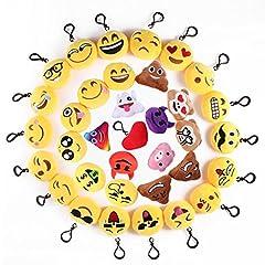 Idea Regalo - Mini Portachiavi Emoji, 35 Pezzi Pop di Emoticon Portachiavi Decorazioni - Ideale per Zaino Borsa Regalo, Faccine Portachiavi Emoticon - Perfetto Regalo per il giorno dei bambini, Natale, compleanni