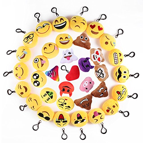 Mini Emoji Llavero, 35 Pack Emoticon Llavero Felpa